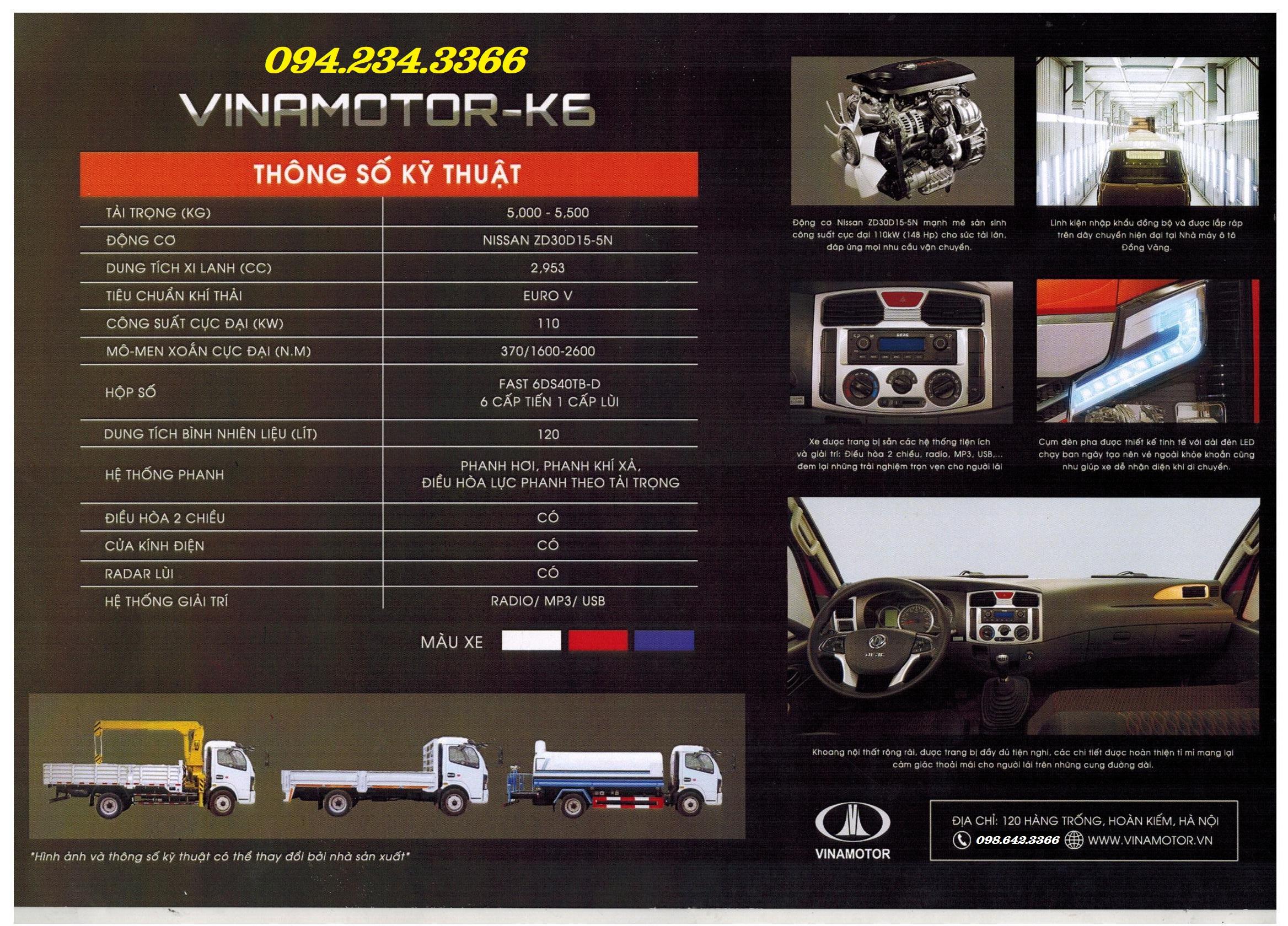 Thông số kỹ thuật Vinamotor K6